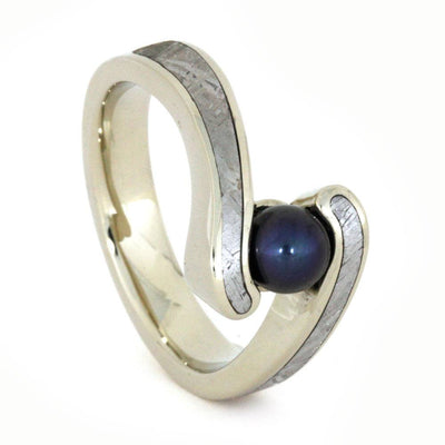 Pearl Engagement Ring, Black Pearl in 14k White Gold Ring, Meteorite Inlay-3244 - Jewelry by Johan