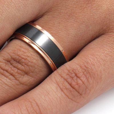 Elysium Ring with 14k Rose Gold Edges, Black Ring by Lashbrook Designs - EBMRIRG8 - Jewelry by Johan