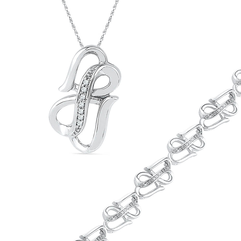 Double Heart Infinity Necklace and Bracelet Gift Set in Sterling Silver-SHGS3010 - Jewelry by Johan