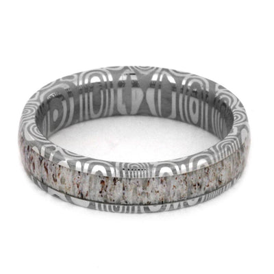 Damascus Wedding Band With Deer Antler Inlay-3180 - Jewelry by Johan