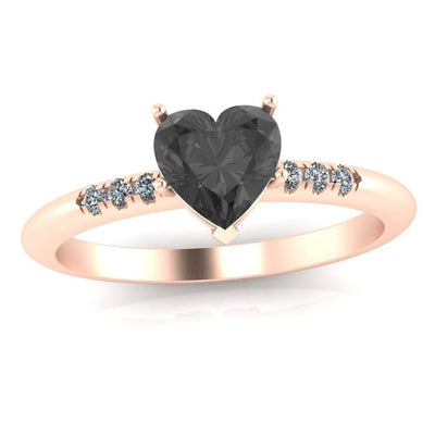 Black Onyx Engagement Ring, 14k Rose Gold Ring With Diamonds-3381 - Jewelry by Johan