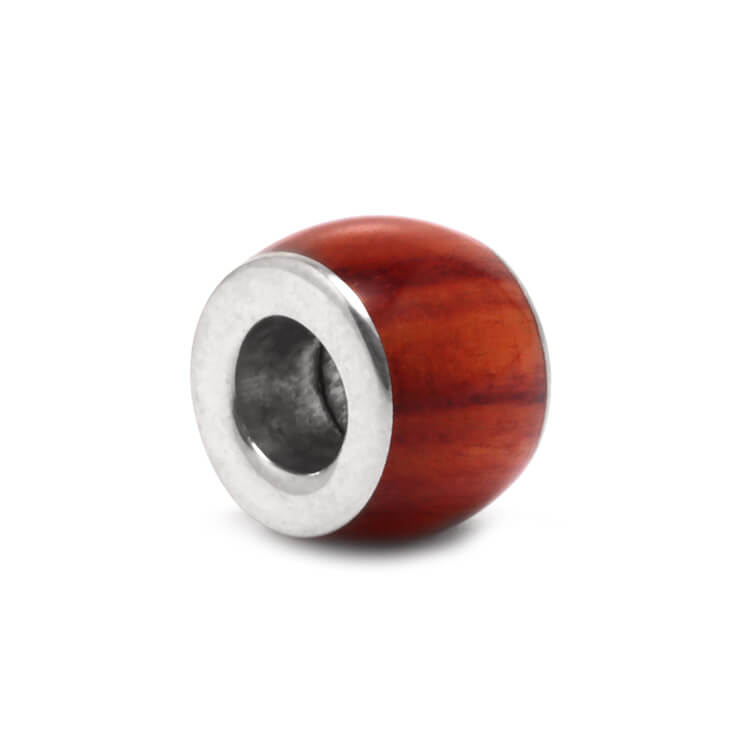 Large Tulipwood Charm Bead, Sterling Silver Bead for Charm Bracelets