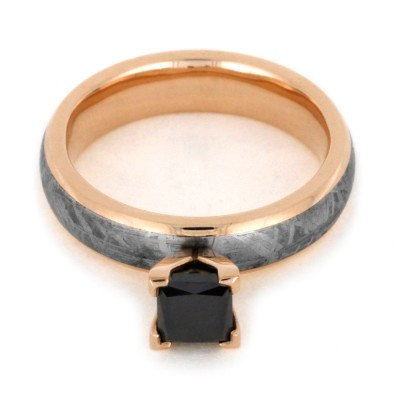 Princess Cut Black Diamond Ring With Meteorite in Rose Gold-2015 - Jewelry by Johan