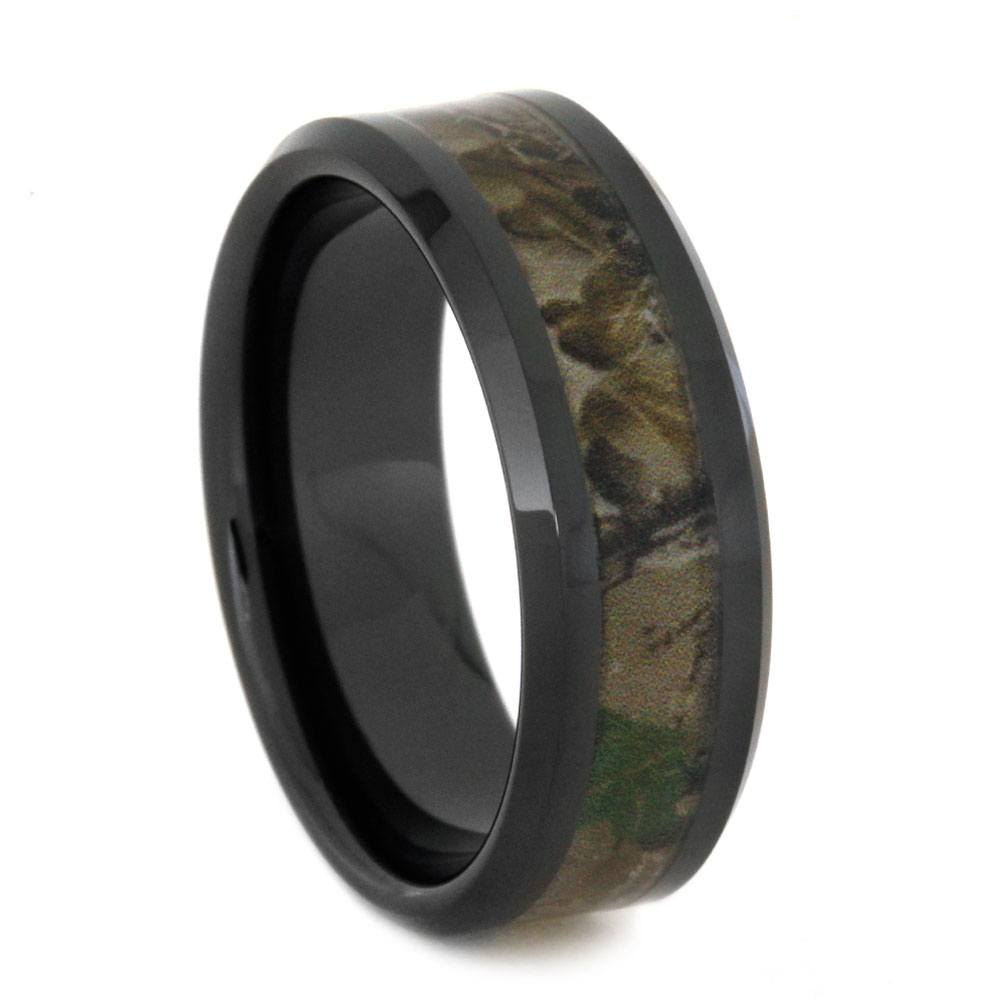 Black Ceramic Men's Wedding Band With Camo