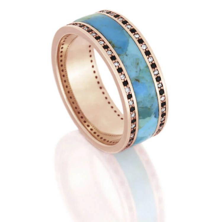 Turquoise Wedding Band, Diamond Eternity Ring In Rose Gold-DJ1005RG - Jewelry by Johan