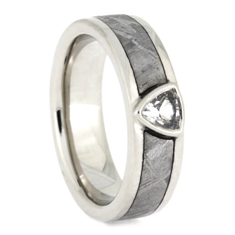 Trillion Cut White Sapphire In Palladium Engagement Ring, Meteorite Wedding Band, Size 4-RS9250