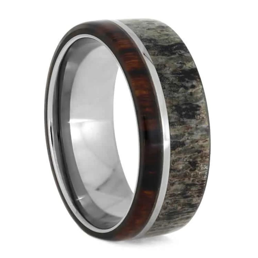 Antler And Ironwood Men's Wedding Band With Titanium Pinstripe-1042 - Jewelry by Johan