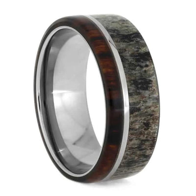 Antler Wedding Band With Ironwood And Titanium-1042 │ Jewelry by Johan