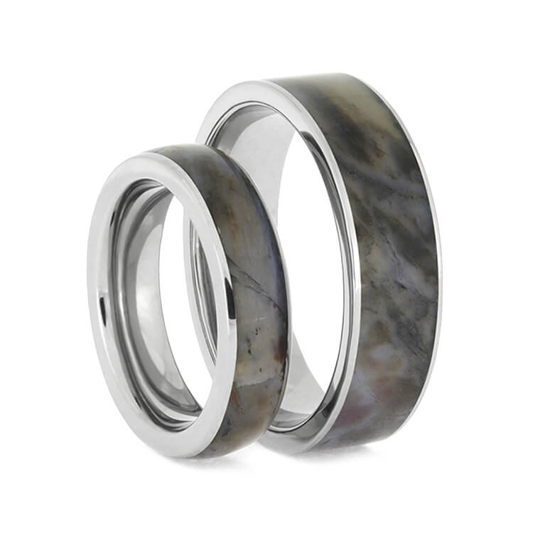 Petrified Wood Ring Set, Titanium Wedding Bands With Matching Wood Inlays-2634 - Jewelry by Johan