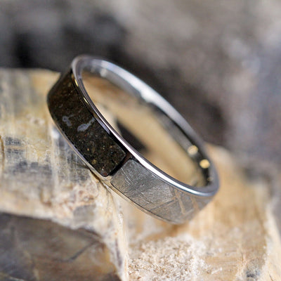 Dinosaur Bone Ring With Meteorite, Two Partial Inlays, Titanium Band-3340 - Jewelry by Johan