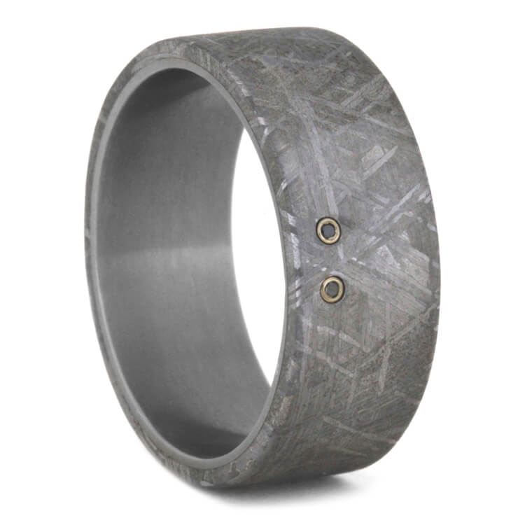 Black Diamond Wedding Ring With Meteorite, Size 10.75-RS9420 - Jewelry by Johan