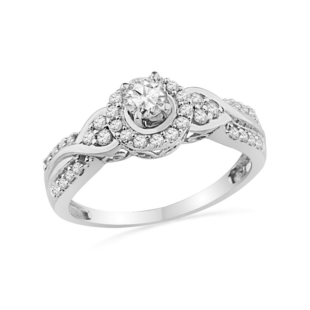 Unique Diamond Engagement Ring in Sterling Silver-SHRE014293-SS - Jewelry by Johan