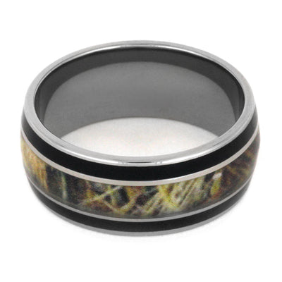 Titanium Wedding Band With Black Enamel And Camo Ring-3147 - Jewelry by Johan