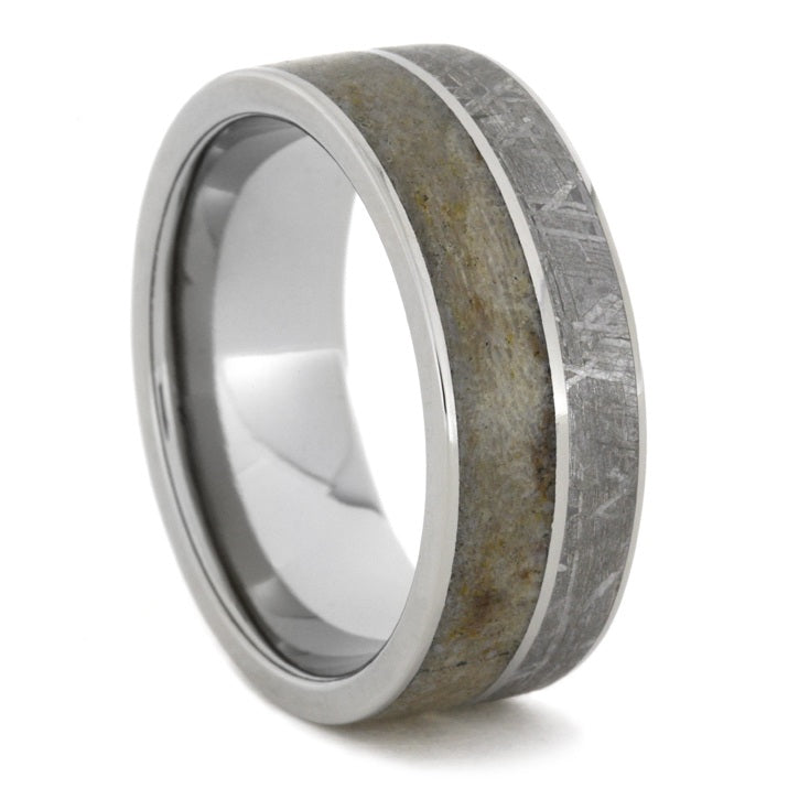 Unique Titanium Ring With Meteorite and Light Dinosaur Bone, Size 10.5-RS8059 - Jewelry by Johan