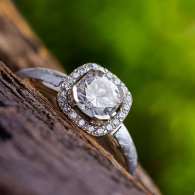 Moissanite Ring with Diamond Accents and Meteorite in 10k White Gold-1702 - Jewelry by Johan