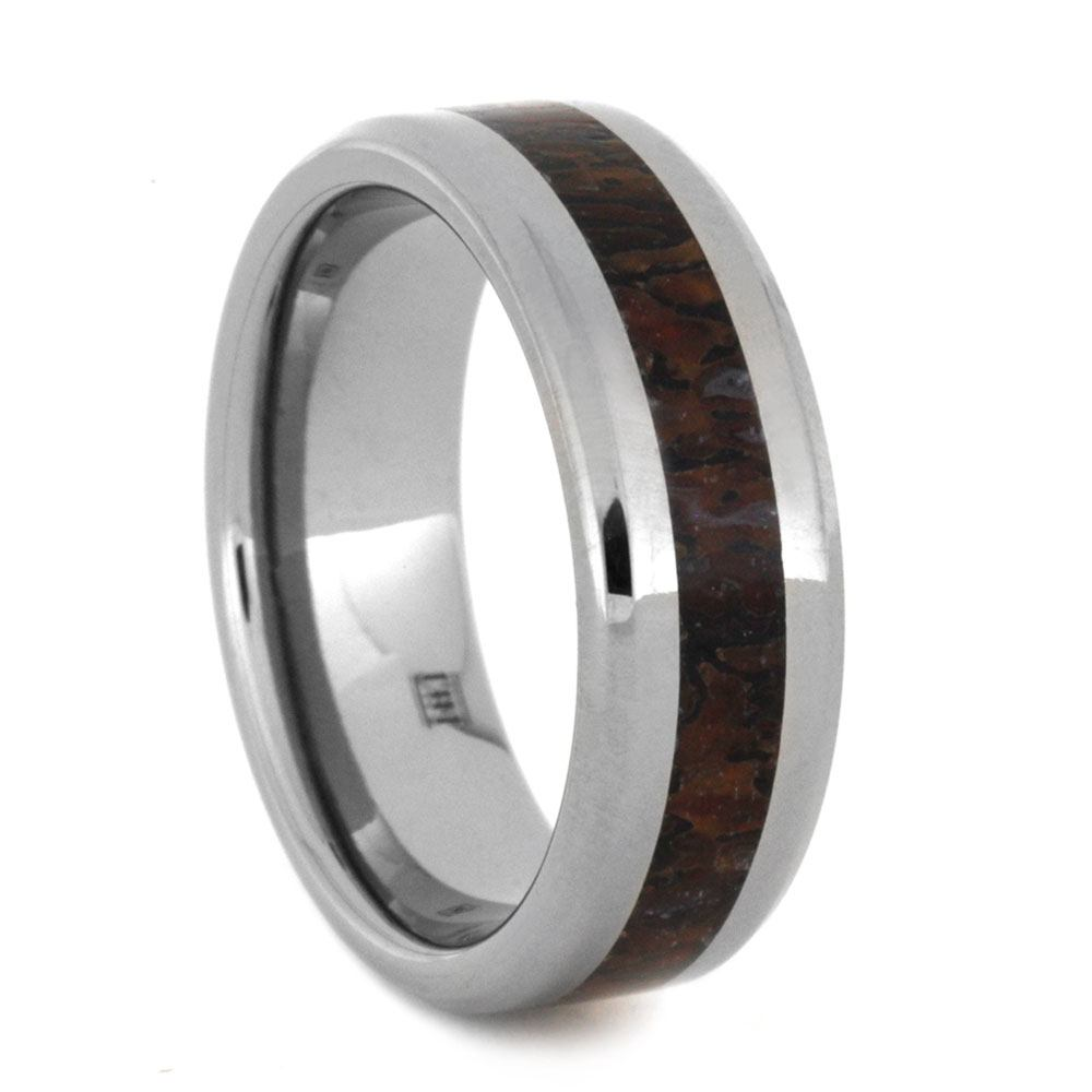 Dinosaur Bone Wedding Band in Polished Titanium, Size 8.5-RS8972 - Jewelry by Johan