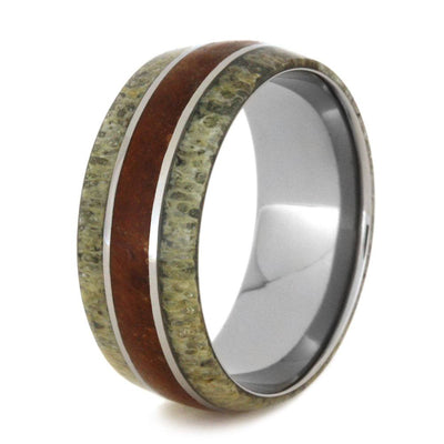 Titanium Ring With Petrified Wood