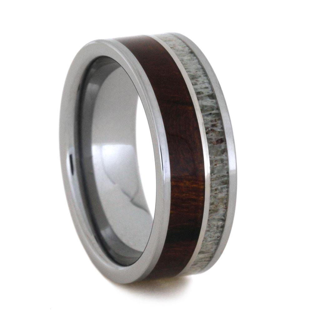 Tungsten Ring With Deer Antler, Ironwood And Titanium, Size 8.75-RS9202 - Jewelry by Johan