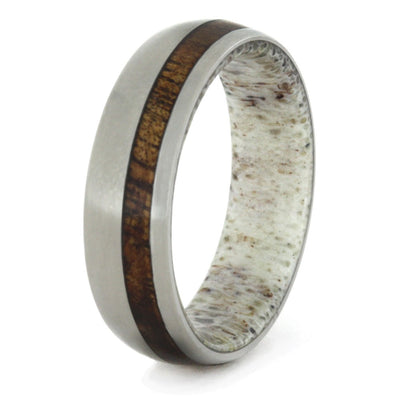 Titanium Ring with Antler Sleeve and Koa Wood Stripe-1705 - Jewelry by Johan