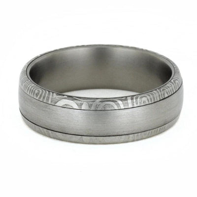 Damascus Wedding Band With Brushed Steel-1771 - Jewelry by Johan