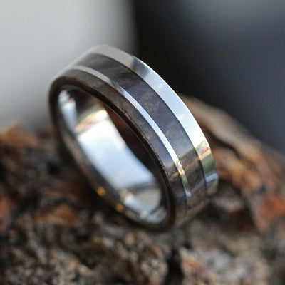 Wood Wedding Band, Titanium Ring with Buckeye Burl Wood Inlay-3365 - Jewelry by Johan