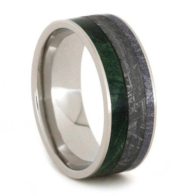 Meteorite Ring with Composite Mokume and Green Box Elder Burl-1896 - Jewelry by Johan