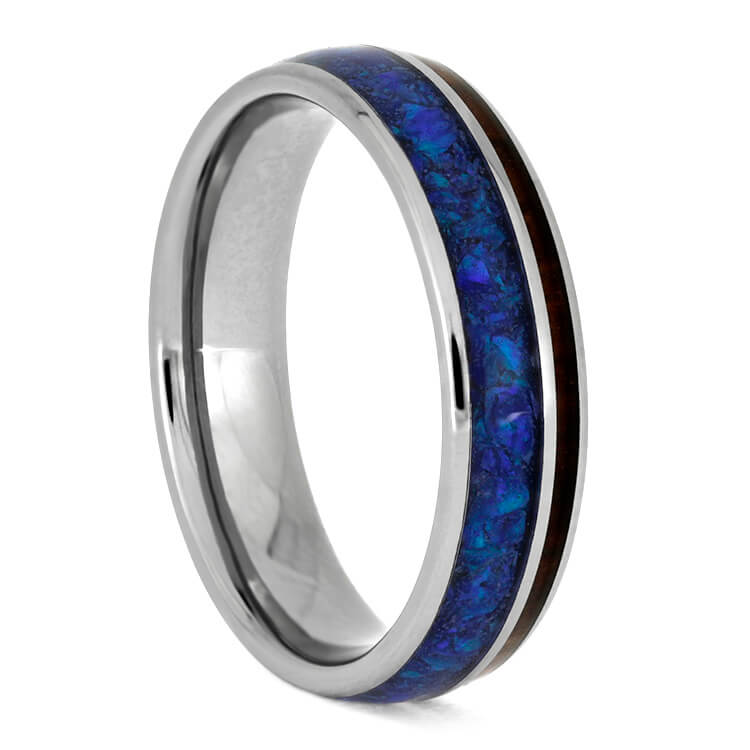 Snakewood Wedding Band With Synthetic Opal, Titanium Ring-3675