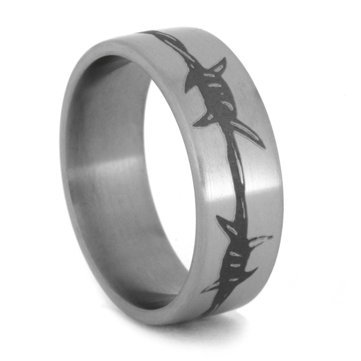 Barbed Wire Engraved Men's Wedding Band
