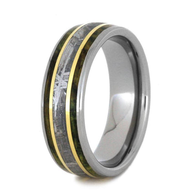 Meteorite Wedding Band With Green Box Elder Burl And Yellow Gold-3169 - Jewelry by Johan