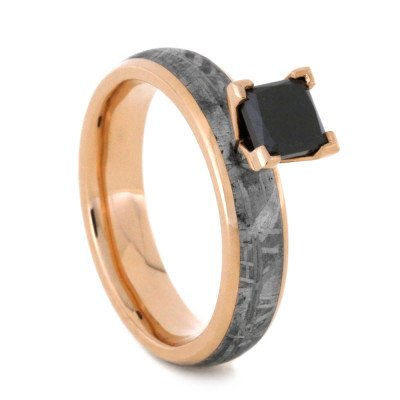 Princess Cut Black Diamond Ring With Meteorite in 14k Rose Gold