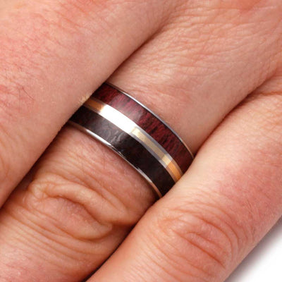 Purple Wood Ring shown on finger