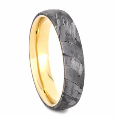 Mens Wedding Band, Yellow Gold Band with Meteorite Inlay-2190 - Jewelry by Johan
