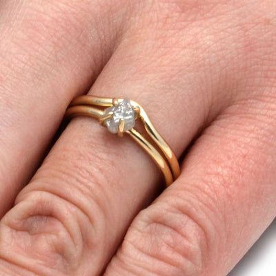 10k Yellow Gold Bridal Set with Rough Diamond-2940 - Jewelry by Johan