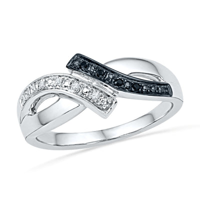 Black and White Diamond Promise Ring in Sterling Silver-SHRF072568AAWBW-SS