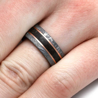 Dinosaur Bone Wedding Band With Rose Gold And Meteorite-2997 - Jewelry by Johan