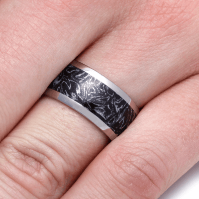 Black and White Mokume Gane Ring with Titanium Band (5)