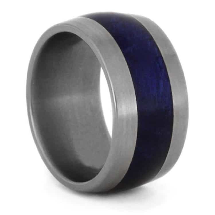 Titanium Ring With Blue Box Elder Burl Wood Inlay, Size 5.75-RS9362 - Jewelry by Johan