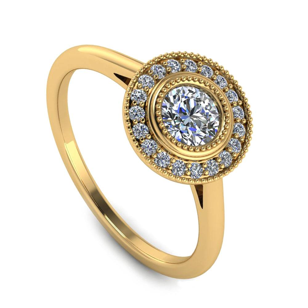 Moissanite Engagement Ring Fashioned In Yellow Gold-2983 - Jewelry by Johan