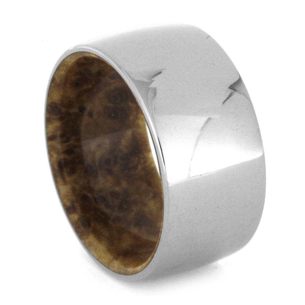 Thick Polished Titanium Men's Band with Wood Inside, Size 10.5-RS8713 - Jewelry by Johan