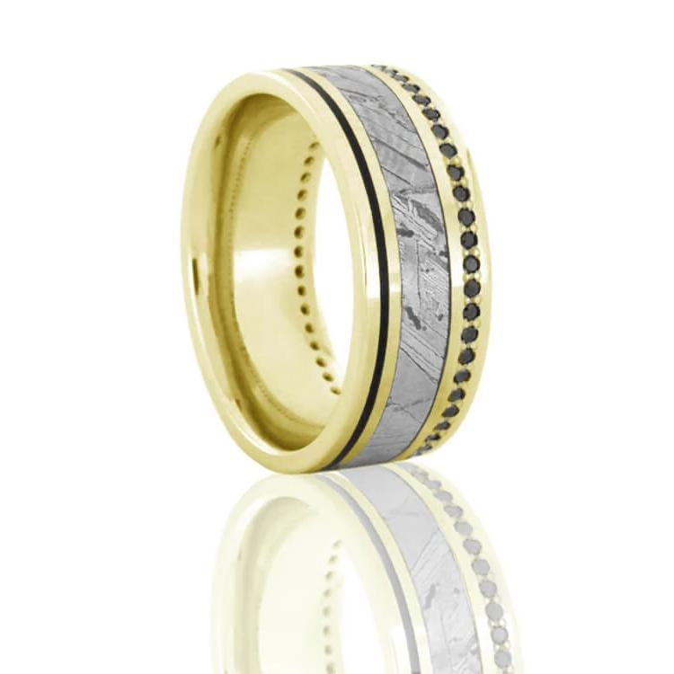 Seymchan Meteorite Eternity Ring, Black Diamond Band With Yellow Gold-DJ1022YG - Jewelry by Johan