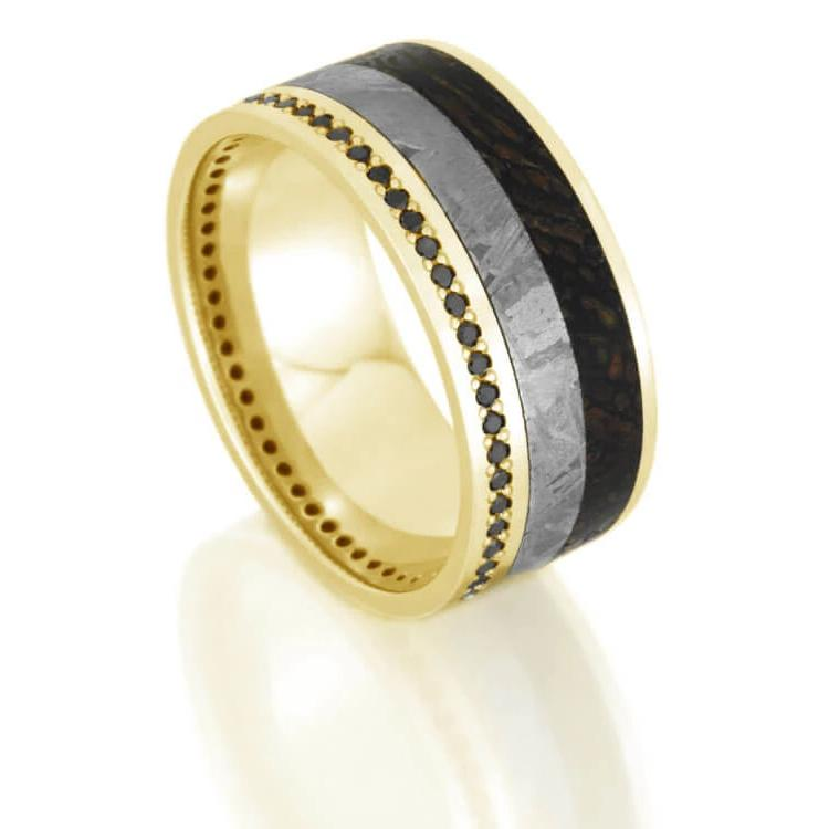 Black Diamond Eternity Wedding Band for Men with Dinosaur Bone and Meteorite-DJ1021YG - Jewelry by Johan