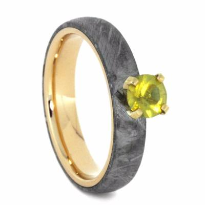 Yellow Sapphire Engagement Ring with Meteorite Over Yellow Gold-2257 - Jewelry by Johan