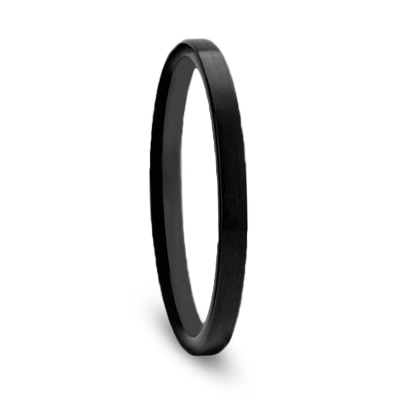 Womens Wedding Band, Thin Black Ceramic Ring, Flat Profile-THW589-FBBT - Jewelry by Johan