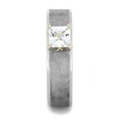 Princess Cut White Sapphire Ring with Meteorite in 14k White Gold-1762 - Jewelry by Johan