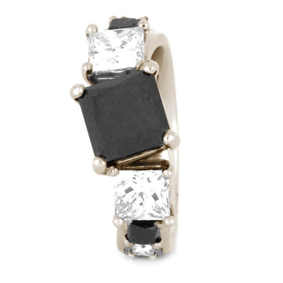 Black Diamond Engagement Ring, 14k White Gold Ring With Curved Design-3338 - Jewelry by Johan