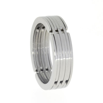 Doodle Ring, Cool Titanium Band, Gadget Ring-1609 - Jewelry by Johan