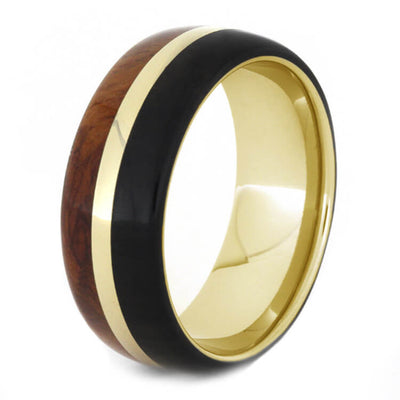 Yellow Gold Wedding Band with African Blackwood and Amboyna Burl-1288 - Jewelry by Johan