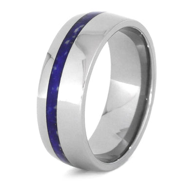 Lapis Lazuli Wedding Band With Titanium Sleeve And Edges-3434 - Jewelry by Johan
