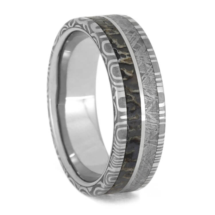 Damascus Steel Man's Ring, Meteorite And Dinosaur Bone Wedding Band-3615 - Jewelry by Johan