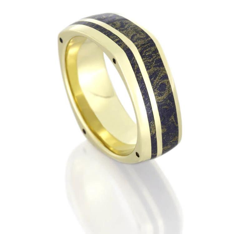 Mokume Wedding Band in 14k Yellow Gold With Side Accents, Lapis Ring-DJ1003YG - Jewelry by Johan